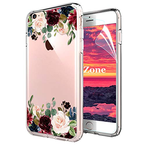 iPhone 6S Plus/iPhone 6 Plus Hülle [mit HD-Schutzfolie],OKZone [Blumen Series] Transparent Silikon Muster Hülle TPU Blühende Blumen Design Schutzhülle für Apple iPhone 6S Plus/iPhone 6 Plus(Dunkelrot) - Muster 6