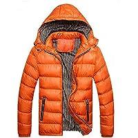 Hombre y niños abrigo con capucha Invierno,Sonnena ⚽ hombre casual abrigo de algodón manga larga con capucha suelto dobladillo elástico cremallera color liso al aire libre