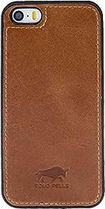 "Solo Pelle iPhone SE / 5 / 5S Case Lederhülle Ledertasche Backcover "" Flex "" in Cognac Braun"