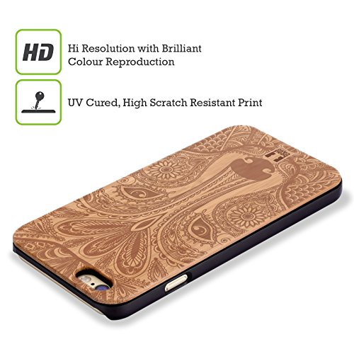 Head Case Designs Paisley Zeichnungen Im Holz Hülle mit Rückseite aus Bambus Holz für Apple iPhone 5 / 5s / SE Wold