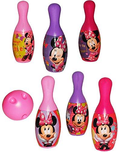 7 TLG. Set Kegelspiel / Bowling -  Disney Minnie Mouse  - aus Kunststoff / Plastik - für Außen + Innen - Bunte Farben Kegeln Kegel - für Kinder / Erwachsene..