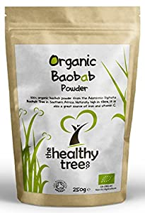 Organic Baobab Powder | Premium Quality Pure Superfruit | High in Fibre, Calcium, Vitamin C and Antioxidants | Baobab Powder by TheHealthyTree Company | 250g Pouch