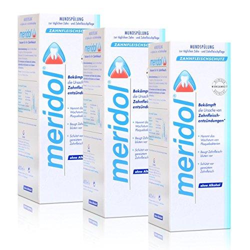 3x Meridol Mundspülung Zahnfleischschutz 400ml - ohne Alkohol