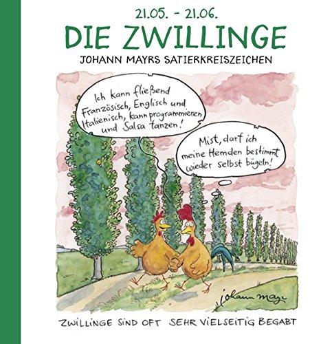 Die Zwillinge: Witziges Cartoon Sternzeichen-Geschenkbuch im Format 11,5 x 11,5 cm