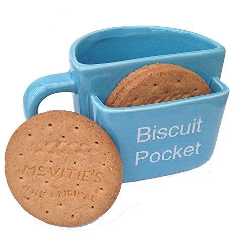 Tazza con tasca per biscotti, grande, blu