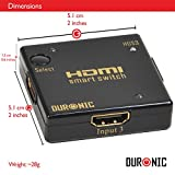 Duronic HDS3 Mini 3 Port Gold HDMI Auto Switch PIANO BLACK 3x1 (3 way input 1 output HDMI Switcher)