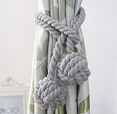 Fittoway A Pair of Fine Hand Tied Curtain Clip Drapery Tassels Curtain Tiebacks/Tassel Window Cotton Rope Tie Ball Back Accessories Double Ball (Grey)