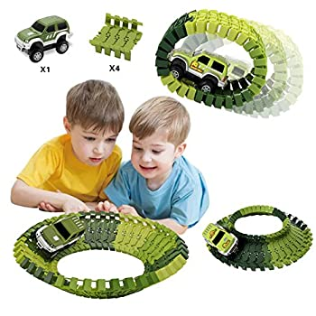 Actrinic Slot Car Race Track Sets Dinosaur Toys Jurassic World With 142 Pieces Flexible Tracks 2 Dinosaurs,1 Military Vehicles,4 Trees,2 Slopes,1 Double-door & 1 Hanging Bridge For Children's Gift 1