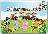 Einladungskarten zum Kindergeburtstag mit Kindern im Zug & wilden Tieren (8 Stück)