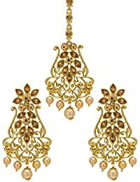 Bindhani Gold Plated Earrings & Necklace Set For Women
