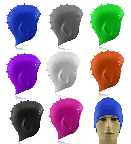 #DoYourSwimming Badehaube/Schwimmhaube mit extra Schutz für die Ohren | für Erwachsene & Jugendliche | Silikon (wasserdicht) - elastische Badekappe/Schwimmkappe - Tragekomfort »Barney« gruen