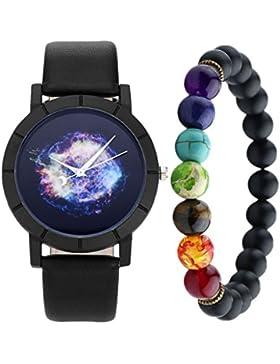 JSDDE Uhren,Geheimnisvoll Sternenhimmel Universum Armbanduhr + 7 Chakra Healing Balance Yoga-Armband Geschenk...