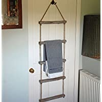 Hanging wooden rope bathroom towel ladder rail