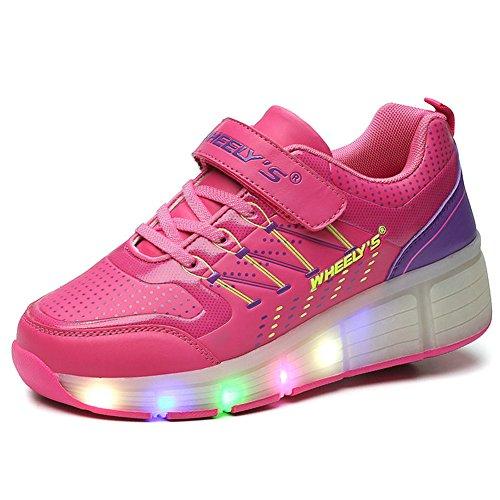 Unisex Schuhe mit Roller Skate ein Rad Schuhe Skateboard Boys Mädchen Erwachsene Led Lights Sports Sneaker Shocking Pink