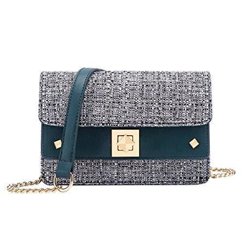 Sommer Kette Mini Bag, Retro neue Umhängetasche Klappe kleine quadratische Tasche Schulter Damen Tasche (19,5 * 7 * 13,5 cm) (Farbe : Blue)
