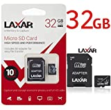 LaXar Ultra 32GB Micro SD TF Memory Card Class 10 with Micro SD to SD Adapter High Performance SD Card - Full HD & 4K Photos & Video Storage
