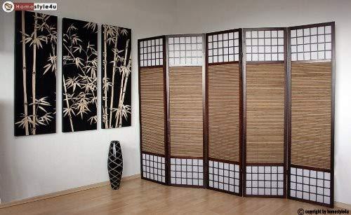 Homestyle4u 5 pan diviseur de pièce écran pliant - diviseur de Shoji bois avec du bambou dans le riz brun blanc