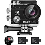 Dragon Touch 4K Action Camera 16MP Sony Sensor Vision 3 Underwater Waterproof Camera 170 Wide Angle WiFi Sports Cam with Remote 2 Batteries and Mounting Accessories Kit