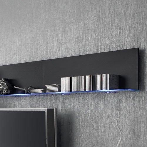 Anbauwand 7-tlg. Hochglanz schwarz, 2x TV-Element, 3x Hängeschrank, 3x Zwischenelement, 2x Glasbodenpaneel, Mindestb.: ca. 300 cm, Tiefe: ca. 40 cm - 3