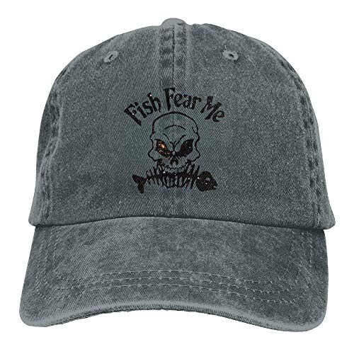 U-Only Men Women's Fishbone Skull Pattern Distressed Baseball Caps Cotton Denim Hat