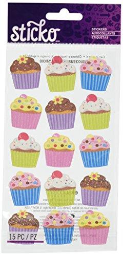 Unbekannt Sticko Bright Pergamentpapier und Glitter Cupcakes Aufkleber -