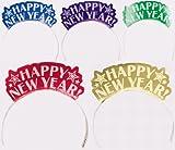 Enter-Deal-Berlin 12 Stück GLITTER KRONEN - HAPPY NEW YEAR - bunt Silvester Dekoration Neujahr Party Happy New Year