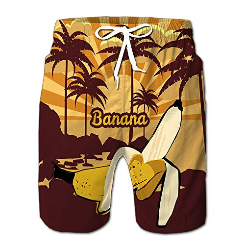 Randell Mens Slim Fit Quick Dry Short Swim Trunks Floral Trees Palms Silhouettes Banana Beach Sea Ocean Swimsuit Or Athletic Shorts Adults Boys L - Palm Tree Swim Trunks