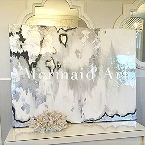 Haute qualité peint à la main d'origine abstraite moderne Art contemporain Peinture Blanc Noir rayé Rayures Art mural décoratif Texture Grande illustrations, Toile, noir/blanc, 32x48inch(80x120cm)