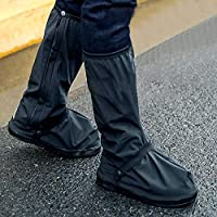 Mainstayae Premium Quality XL(12.6inch) Size Rain Boot Shoe Cover Non-slip Windproof Overshoes Protector Black Waterproof with Reflector One Pair for Cycling riding motorcycle bicycle outdoor