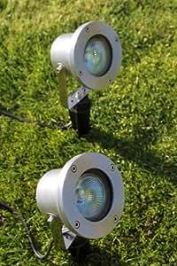 Éclairage extérieur bas Voltage Lot de 2 spots en Aluminium avec transformateur et câble