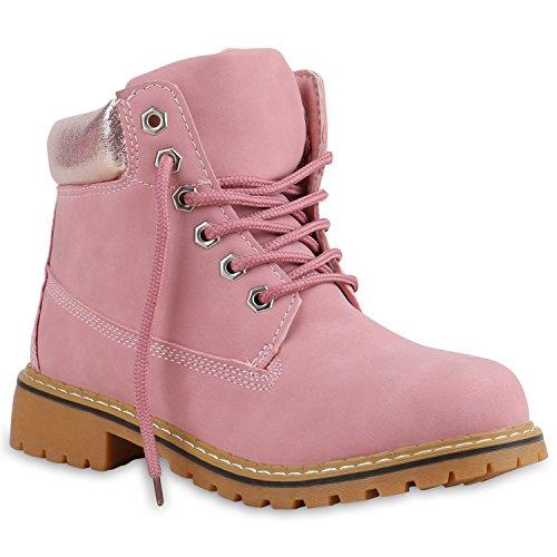 Worker Boots Damen Outdoor Stiefeletten Glitzer Profilsohle Rosa