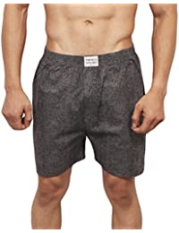Neska Moda Men's Premium Elasticated Cotton Black And Grey Boxer With 1 Back Pocket-MFN-XB137