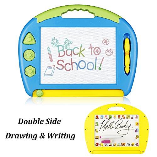 Kunst Board (Doppelseitig Groß Magnetische Zeichenbrett & Weißes Brett, Doodle Pro Skizze 8 Farben Zone Handwerk Kunst löschbares Spielzeug für Kindergeschenk Skill Developmet mit 3 Briefmarken und 2 Stifte, Blau)
