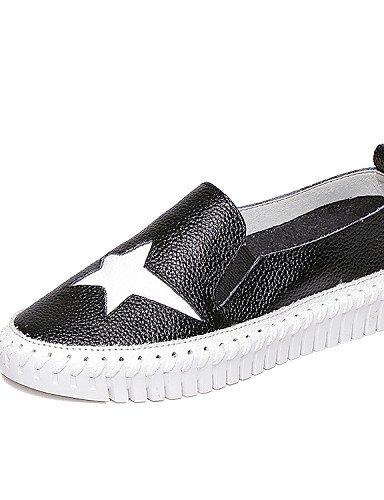 ZQ Scarpe Donna - Mocassini - Casual - Creepers / Comoda / Punta arrotondata - Plateau - Di pelle - Nero / Bianco , white-us8 / eu39 / uk6 / cn39 , white-us8 / eu39 / uk6 / cn39 white-us5.5 / eu36 / uk3.5 / cn35