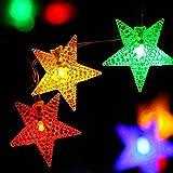 AOFENG LED Solarlichterkette Solar Lichterkette Wasserdicht Außenlichterkette Weihnachtsbeleuchtung mit 30er LEDs Beleuchtung für Hochzeit, Party, Garten 6.5M (Stern, Bunt)