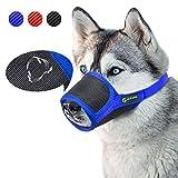 ILEPARK Respirable Bozal de Nylon para Perros Suave Permite Beber, Jadear Bozal Lazo Ajustable (S,Azul)