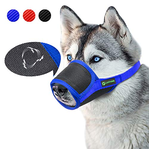 ILEPARK Beehive Maulkorb Mesh Einstellbar Nylon für meistens Hunde vom Beisen, Bellen und Kauen abzuhalten (S,Blau)