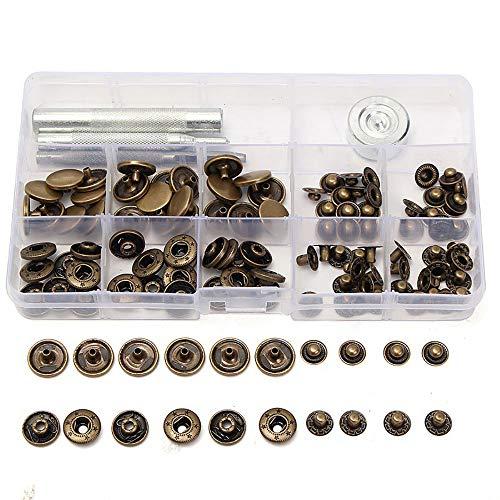 30 Sets 15 mm DIY Handwerk Nähen Knöpfe Antik Messing Druckknopf Druckknopf Druckknopf Druckknopf Druckknopf für Handtasche Stoff Jeans mit Leder Fixierwerkzeug -