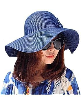 La Haute Sombrero de paja, de ala ancha, para mujer, plegable, con lazo, para la playa y el sol, niña mujer, azul...