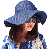LA HAUTE pieghevole con fiocco, da donna, paglia Cappello a