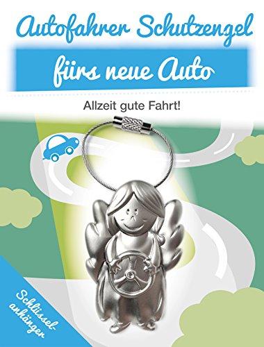 ART + emotions Schlüsselanhänger Schutzengel Auto - Engel aus Metall mit Lenkrad - Glücksbringer für das neue Auto - Geschenkidee als Auto Spiegel Anhänger