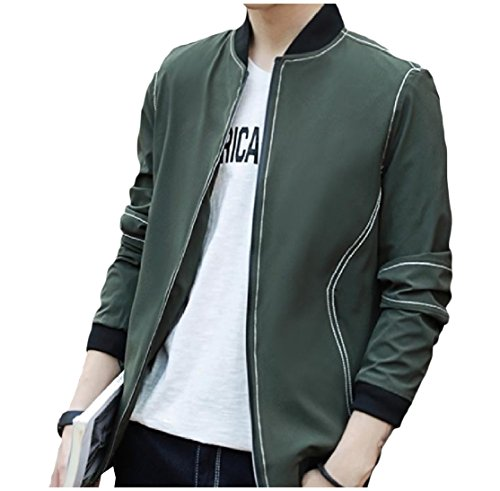CuteRose Men's Fashion Zip-Up Mandarin Collar Flight Bomber Jacket Army Green 2XL (Green Jacket Suit Herren)