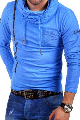 Tazzio Longsleeve High Neck Vintage T-Shirt 4106 Blau