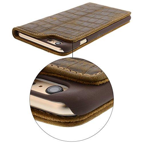 iPhone 6 Plus iPhone 6 Plus Lederhülle / Ledertasche / Hülle / Case / Cover / Etui / Tasche von Blumax® für Apple aus echtem Leder braun im Bookstyle mit Magnetverschluss Croco Braun