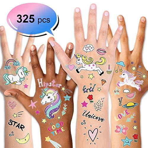 Konsait 25 Blätter Einhorn Tattoos Set, Regenbogen & Einhorn temporäre Tattoos Kinder Aufkleber für Mädchen Kindergeburtstag Mitgebsel Einhorn Party