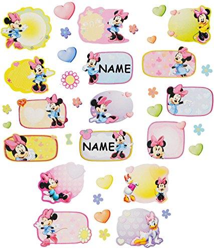 """37 Stk. Sticker - für Hefte Heftetiketten - """" Disney Minnie Mouse """" - Etiketten - Aufkleber Heft - Namenssticker / Namensetiketten - Name Schulhefte - Namensetikett Etikett für Schule - Schulhefte / Mädchen Kinder - Schuletiketten / Geschenkaufkleber selbstklebend / Mäuse - Maus"""