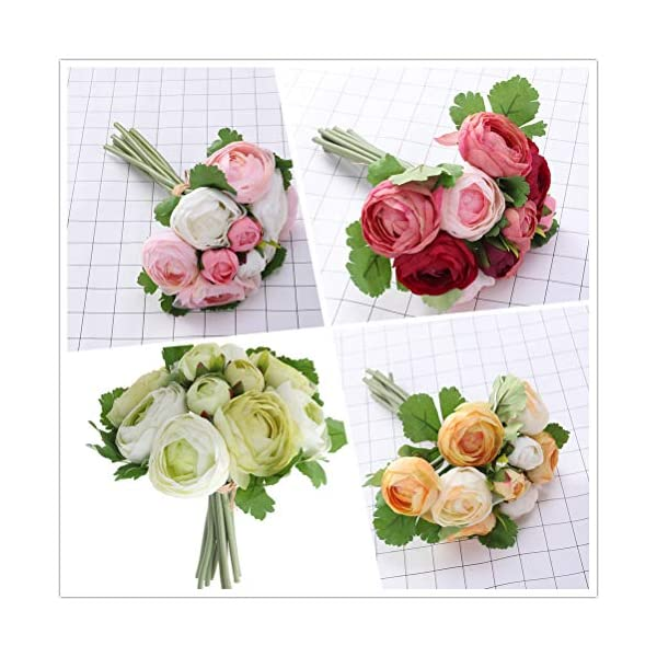 BESTOYARD 10 unids Flores Artificiales Camelia Novia Ramo de Novia de Dama de Honor Toss Bouquet Home Decoration (Verde…