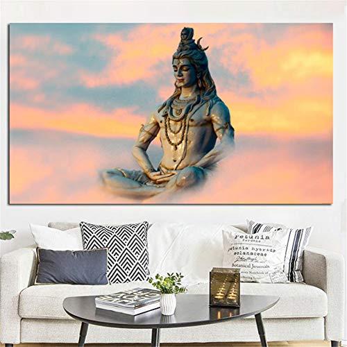 Rjjwai Hd Print Indische Kunst Religiöse Figur Shiva Lord Malerei Auf Leinwand Psychedelic Poster Moderne Wandbild Für Wohnzimmer Hauptdekoration 50x75cm