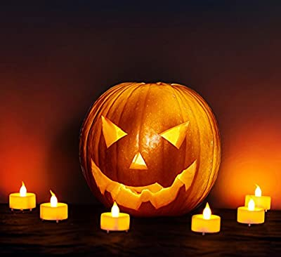 Flameless LED Tea Lights -Flickering battery operated candles - Best indoor electric Tea Lights - White ABS with Amber flickering flame - Perfect for Halloween, Christmas, Votive, Romance, Birthday