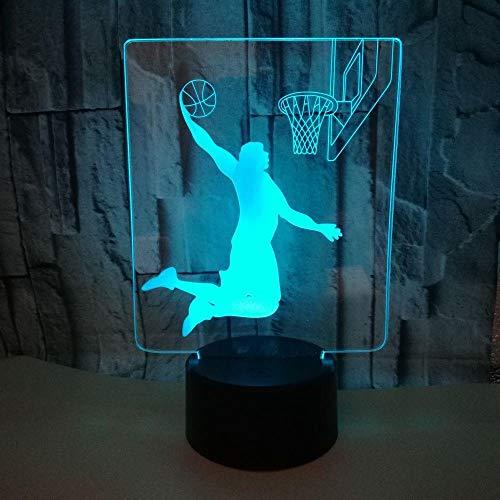 3d Nachtlicht Schöne 7 farbwechsel 3D Lampe weihnachtsgeschenk für baby zimmer lichter USB wiederaufladbare basketball fans Präsentieren energiesparende dekor für büro studie gesch ()
